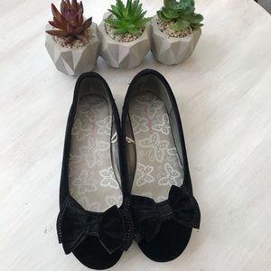 2 for $20: Black Velvet Girl Shoes with Bows